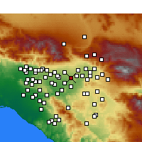 Nearby Forecast Locations - Fontana - Mapa