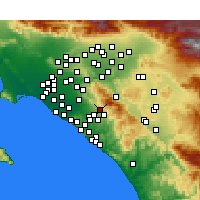 Nearby Forecast Locations - Foothill Ranch - Mapa