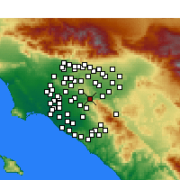 Nearby Forecast Locations - Yorba Linda - Mapa